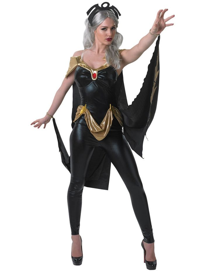 36 marvel universe womens xmen storm black cat suit jumpsuit halloween costume