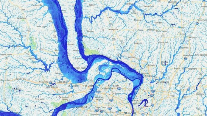"""US flood risk 'severely underestimated'. Scientists and engineers have teamed up across the Atlantic to """"redraw"""" the flood map of the US.  Their work reveals 40 million Americans are at risk of having their homes flooded - more than three times as many people as federal flood maps show. The new mapping project excludes coastal flooding (looks at rivers and rain only)."""