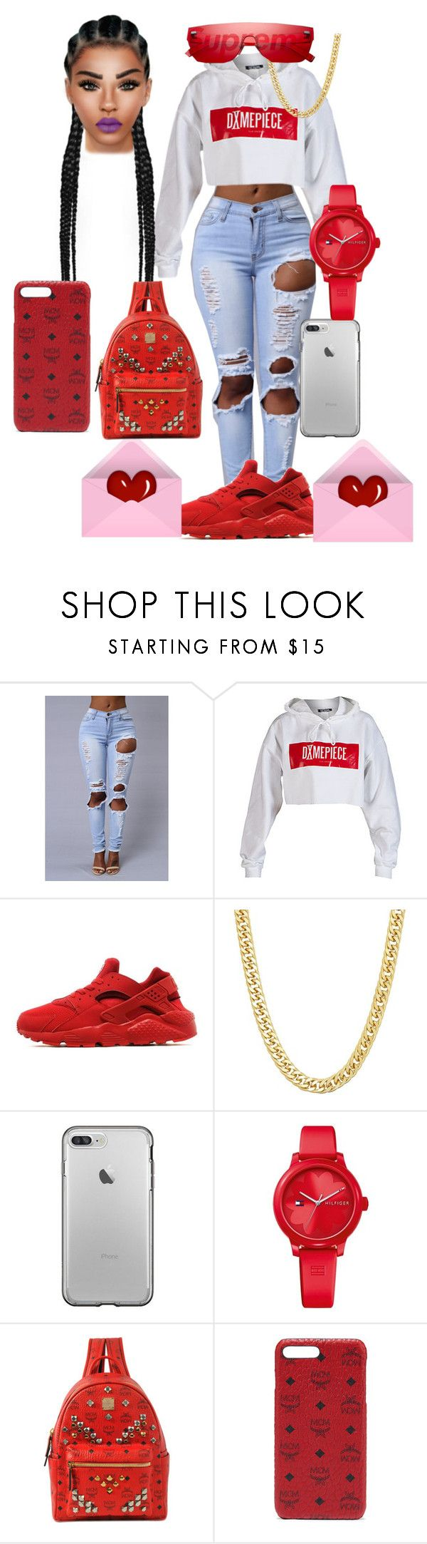 """""""Oh she bad♀️‼️"""" by marleymal ❤ liked on Polyvore featuring Dimepiece, NIKE, Louis Vuitton, Tommy Hilfiger and MCM"""