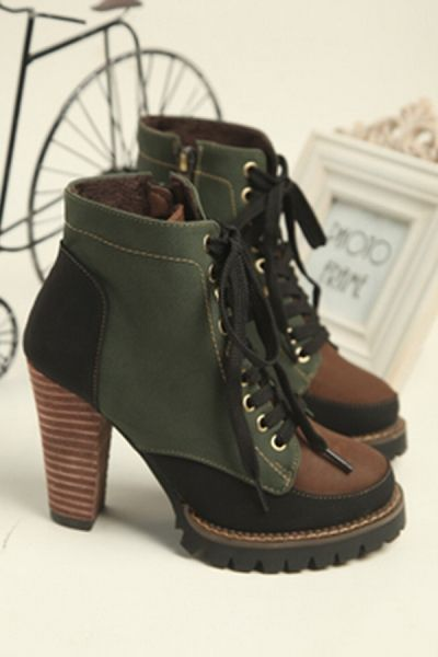 Color Block Lace up High Heel Boots