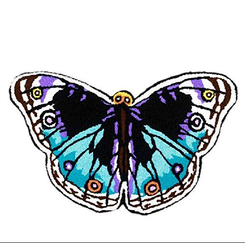 YOYOMALL Butterfly Bathroom Rug Hand Embroidered Floor Mats Personalized  Custom Carpets Butterfly Imprint Anti