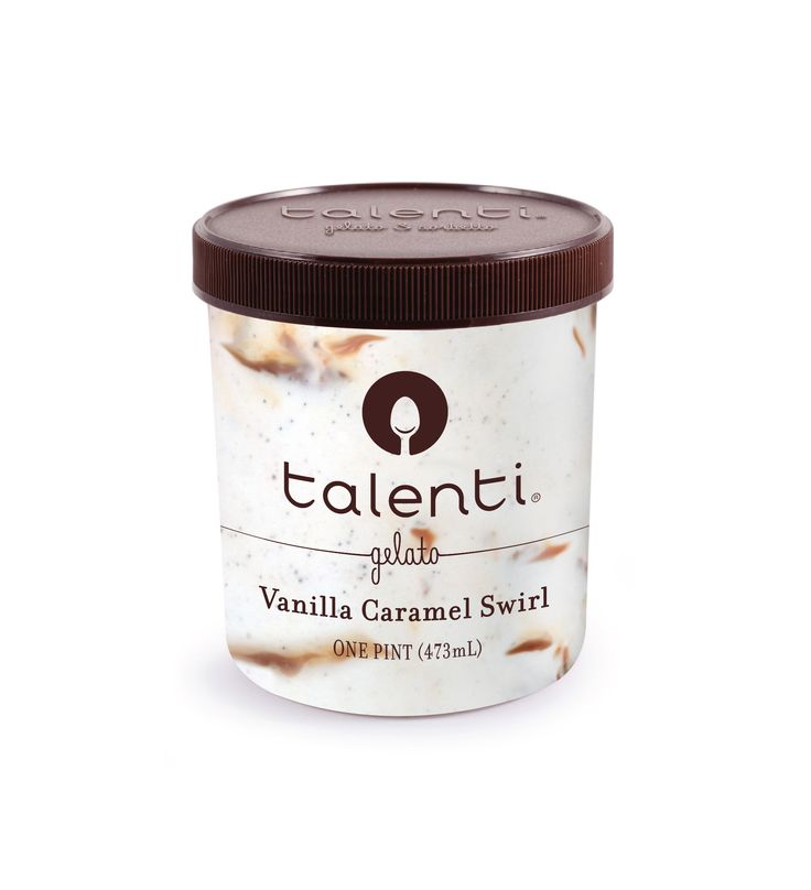 Talenti Vanilla Caramel Swirl gelato. This new flavor is the long-awaited marriage of our simple vanilla bean gelato and our rich dulce de leche. We consider it a classic already.