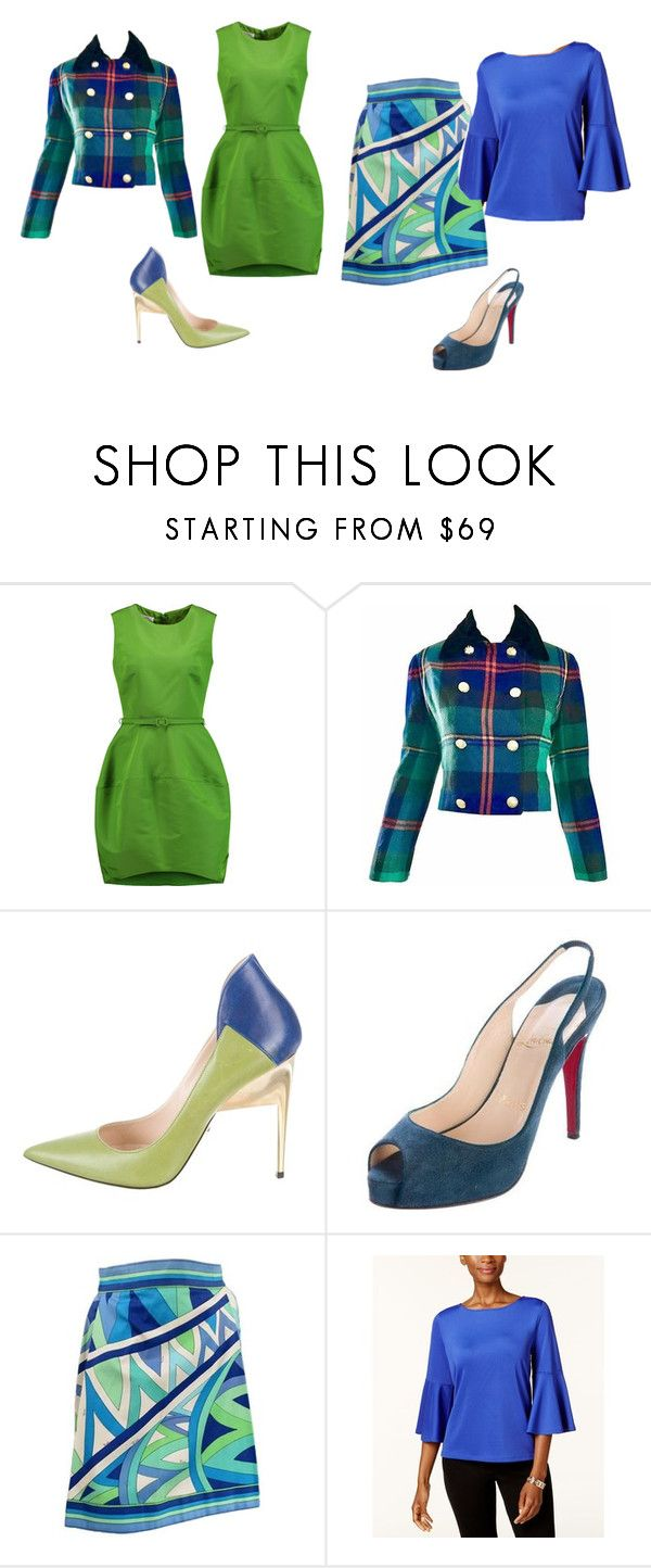 """Blue and Green"" by carla-c-1999 ❤ liked on Polyvore featuring Oscar de la Renta, Ralph Lauren, Ruthie Davis, Christian Louboutin, Emilio Pucci and Kasper"