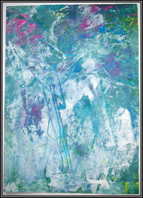 Peinture étirée à la règle : petit cahier : fond + bonhomme en noir sur feuille blanche découpé et collé par dessus