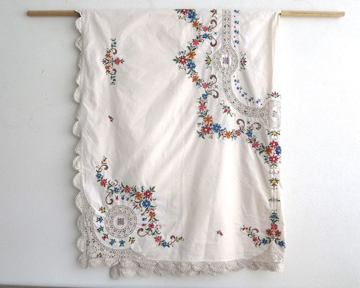 Very large hand embroidered and crocheted tablecloth with cross stitched flowers, very elaborate and decorative, 86 inches / 217 cm long by CardCurios on Etsy