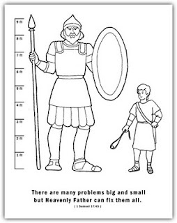 "David and Goliath--Scripture, ""sticks & stones"" discussion, coloring sheet"
