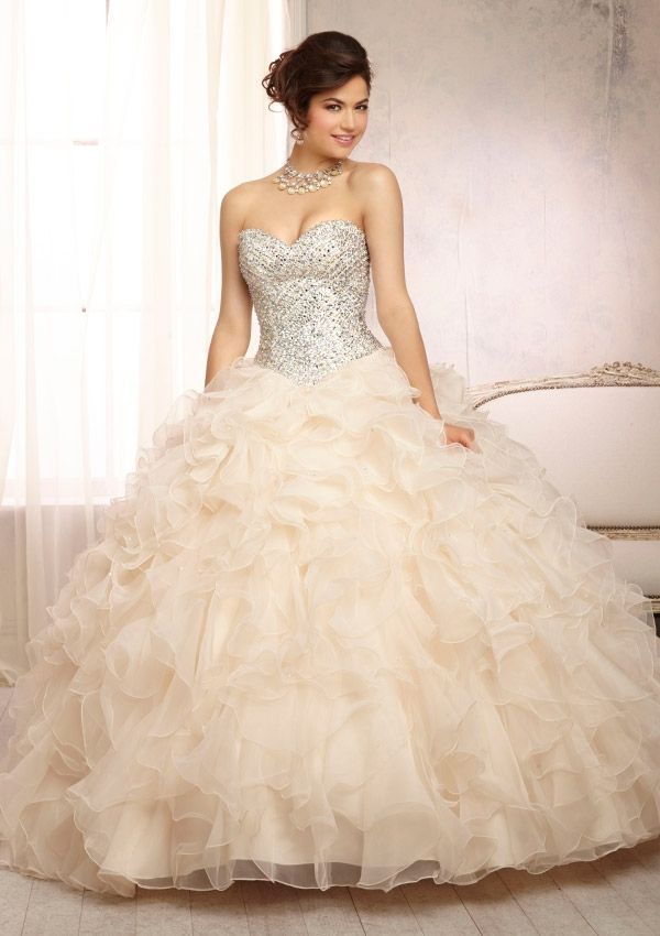 Pearl colored quinceanera dresses