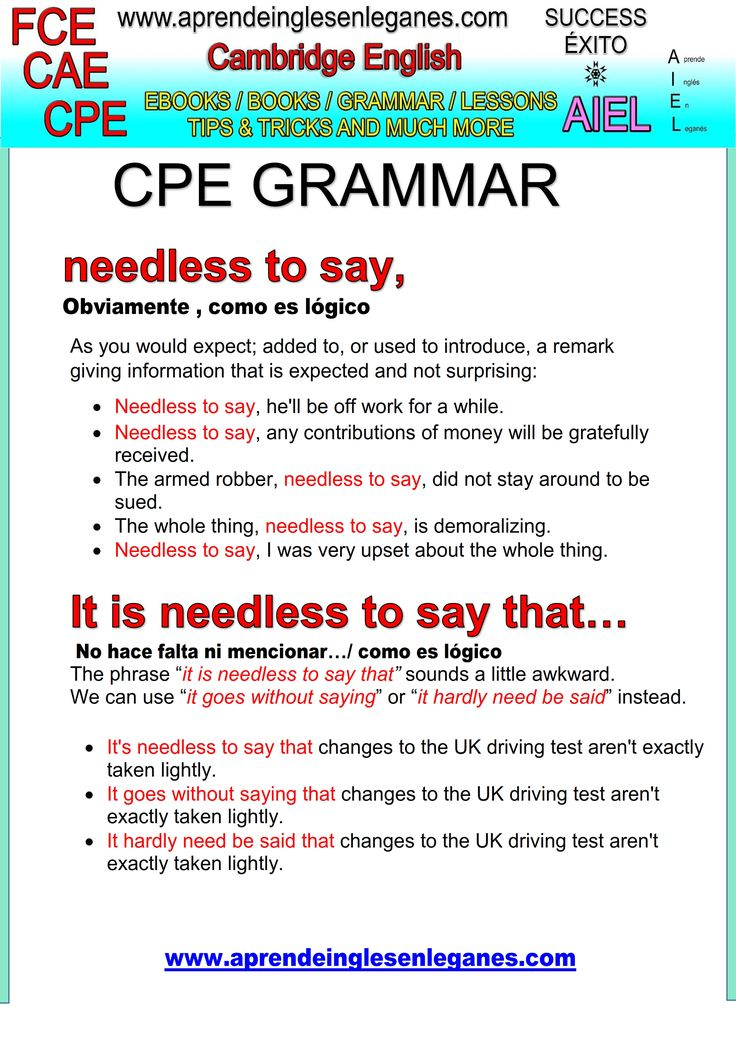 English idioms & Phrases NEEDLESS TO SAY CAE CPE FCE Key word transformation gramática inglesa english grammar