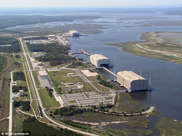 The SSV-175 Viktor Leonov was sighted about 20 miles south of the US submarine base (pictured) at King's Bay , Georgia...