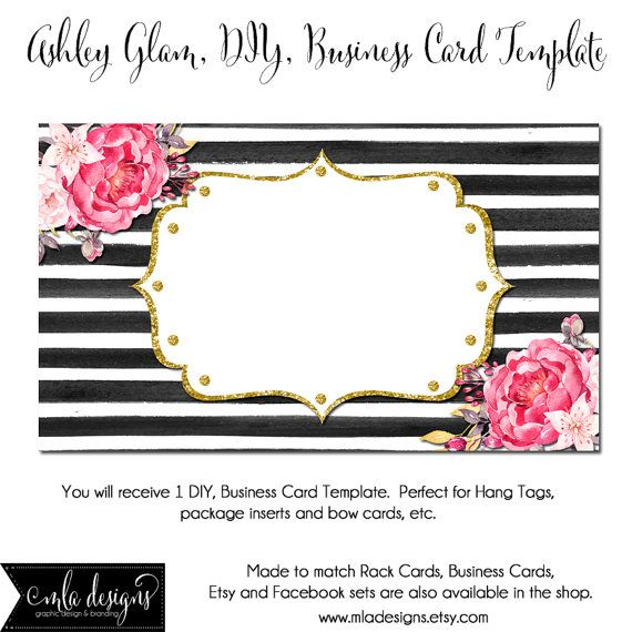 DYI Blank Business Card Template   Ashley Glam   Made To Match Etsy Sets  And Facebook