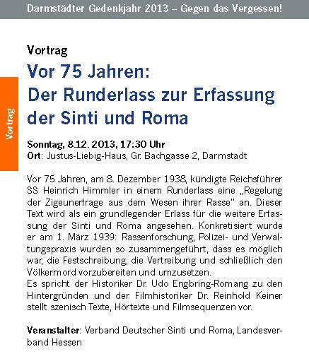 Gegen das Vergessen ... am 8. Dez. in Darmstadt!