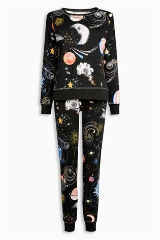 Buy Black Space Print Cotton Pyjamas from the Next UK online shop