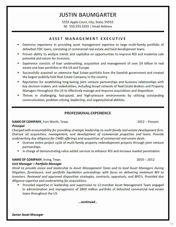 √ 20 commercial property manager resume in 2020  asset