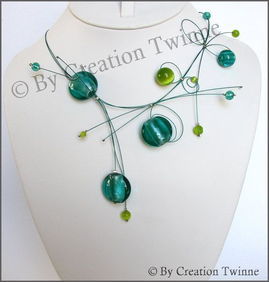 Turquoise and green necklace, glass, bridesmaids necklace, delicate necklace, bridesmaids gift, funky jewelry, fantasy necklace, asymmetrical