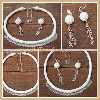A nagy napra - gyöngyhorgolt szett / White bead crochet necklace with dagger beads and beaded bead earrings