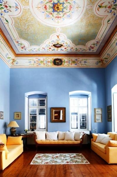 Arhontiko Ermoupolis Hotel in Syros Greece stunning #cerulean #blue walls!