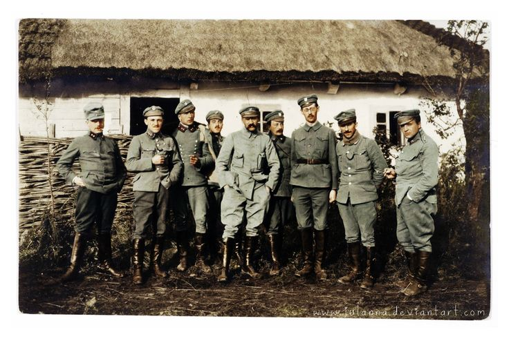"""Commandant Józef Piłsudski (5th from the right) with the officers of the First Brigade of Polish Legions during WW1 (ca. 1914-1917)"""