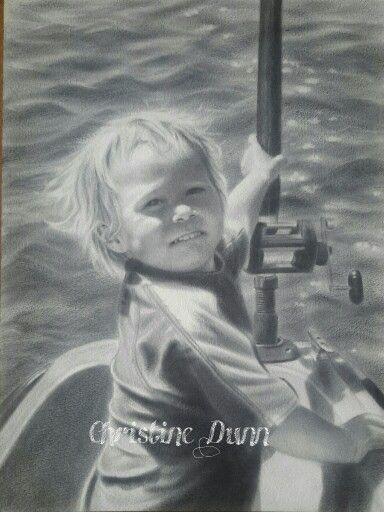Young fisherman in dry brush by Christine Dunn