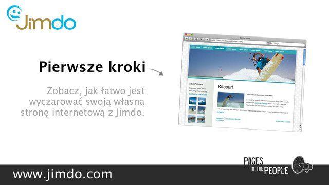 Jak łatwo stworzyć własną stronę internetową by Jimdo. http://pl.jimdo.com - Z Jimdo stworzysz szybko profesjonalną stronę www. Wystarczy wybrać szablon strony, dodać teksty, zdjęcia, księgę gości - i gotowe! Tworzenie stron internetowych nigdy nie było tak łatwe!