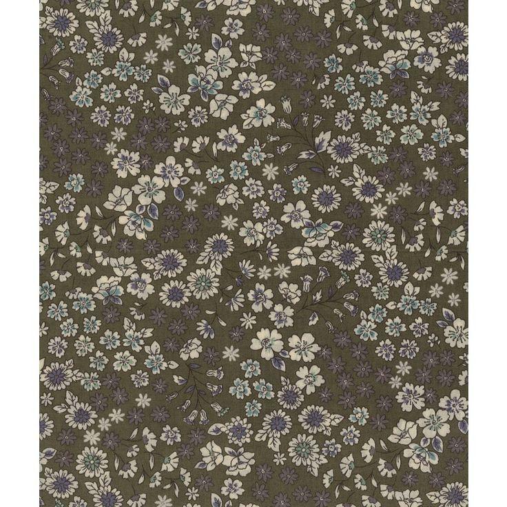 Tissu  Frou-Frou Fleuri Kaki idéal pour vos créations couture. Il peut se prêter au jeu du mix and match notamment avec les motifs de la collection Etoile/Pois/Vichy, ou s'associer avec les tissus unis coordonnés.