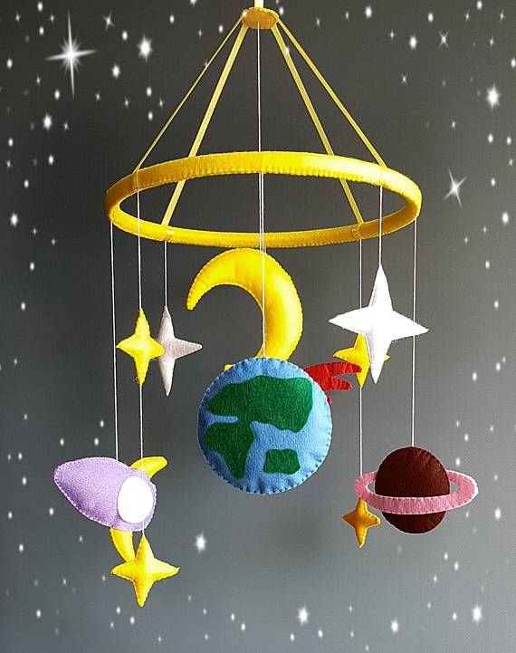 Space baby mobile Nursery mobile Baby Felt crib mobile Cot mobile Hanging crib mobile Boy mobile Girl mobile New baby gift Select your color Mobile cot for the baby with the elements of the solar system.Colorful and bright colors of stars,moon,planets and a rocket.All items are of high quality felt.Ring plastic covered with felt.Satin ribbons hold the ring.The top loop. In the photo number 5 you can choose any color when buying email me the numbers of colors. Music box and mobile arm atta...