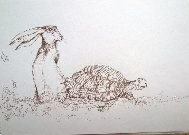 voorstudie de schildpad en de haas begonnen met een nieuw project: Fabels van Aesopus Binnenkort ansichtkaarten van diverse fabels te koop via http://brechtjeduijzer.nl/