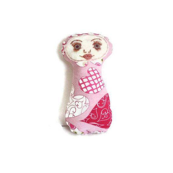 Art Doll Friendship Doll Hearts Pink White by MissTreeCreations, $15.00