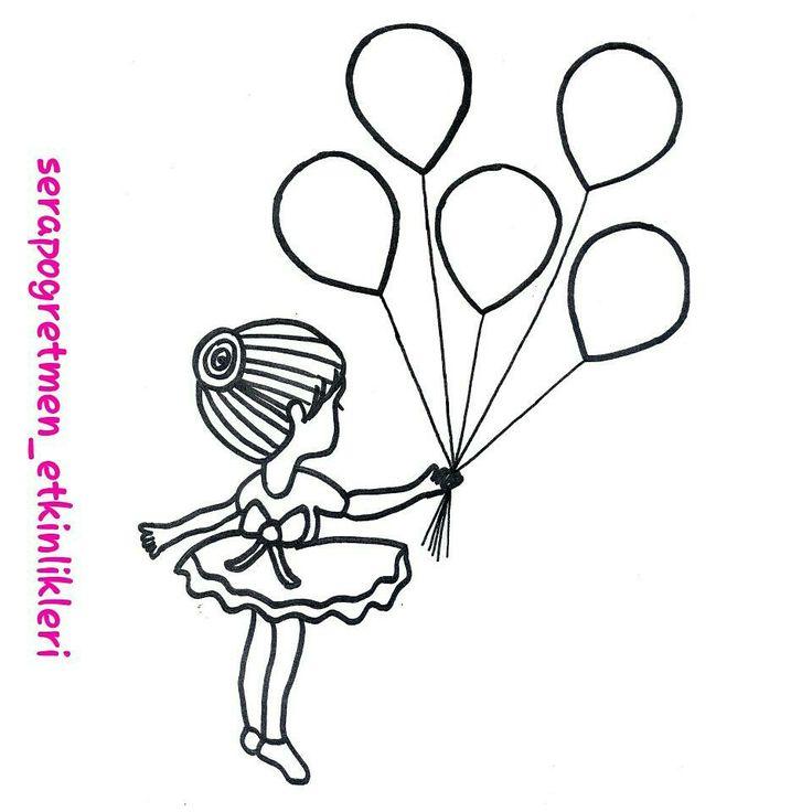 İsteyenler için balonlu kız kalıbım  Biz kulak çöpü ve sulu boya ile renklendirdik  #serapogretmen #serapogretmen_etkinlikleri