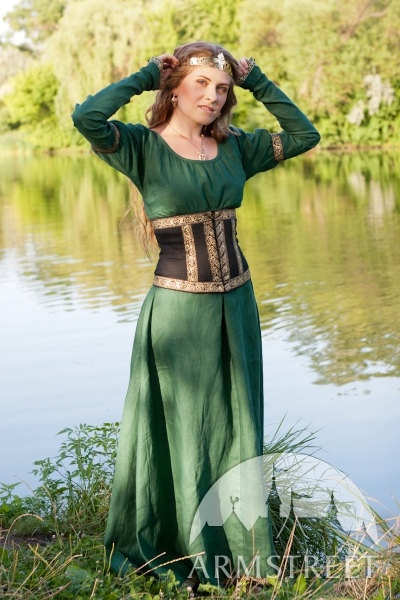 Medieval Dress with Corset Belt Forest Princess by armstreet, $204.00