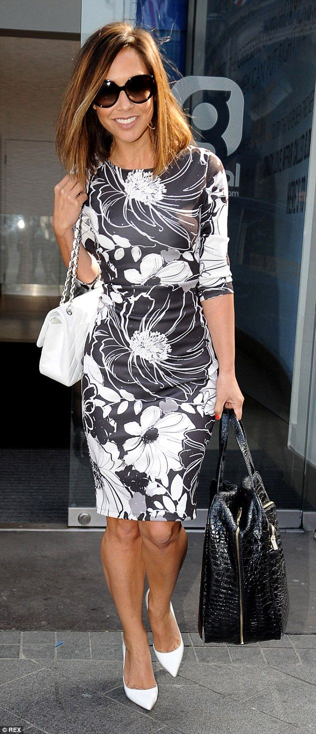 Spring is here: Myleene Klass left her morning radio show in London looking chic in a monochrome ensemble and showing off her new short hair do