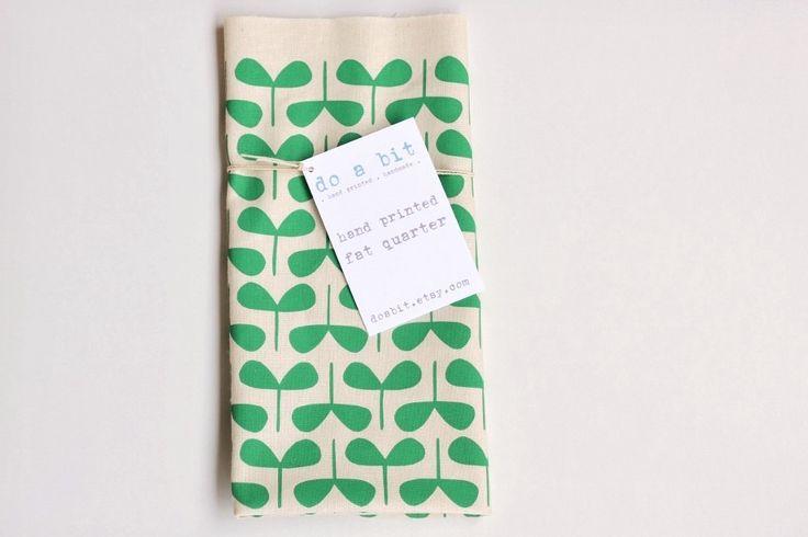 Screen printed fat quarter - Seedlings - emerald green. $17.00, by do a bit via Etsy.
