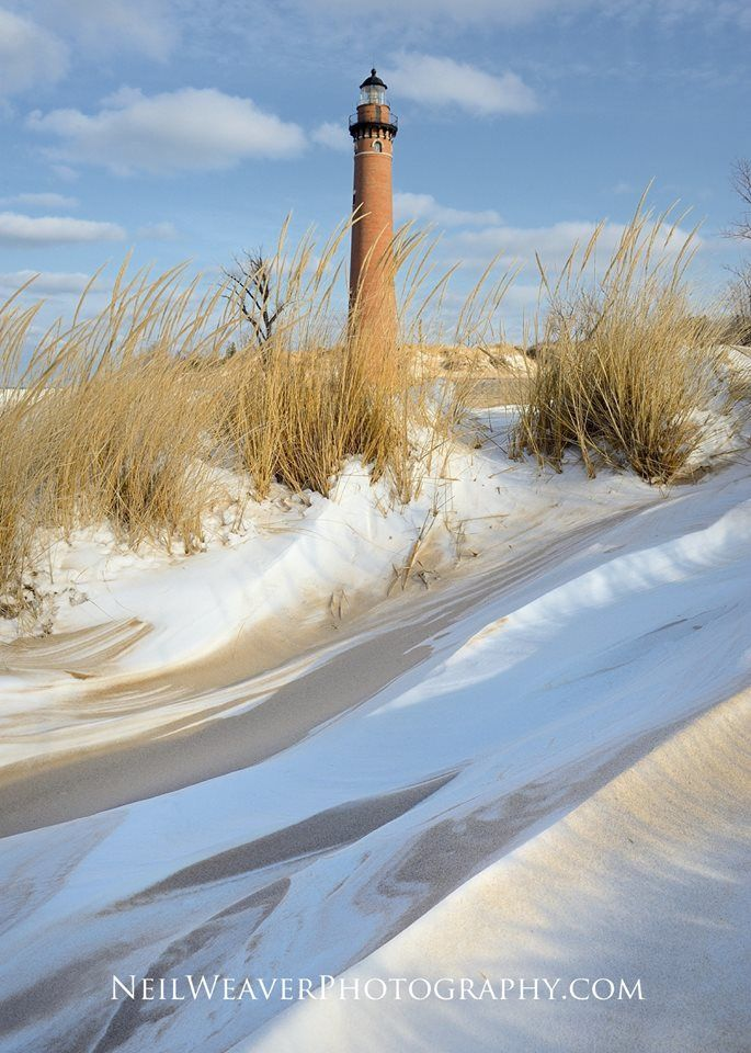 Layers of sand and snow on the beach at Little Point Sable ~ Mears, MI. I love Lake Michigan shore in the winter! www.NeilWeaverPhotography.com Jan 22, 2015