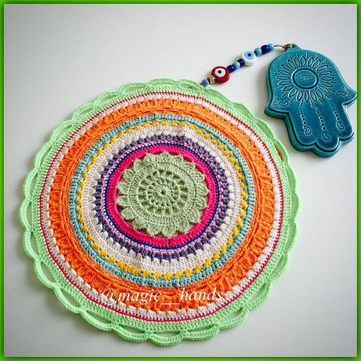 "Instagram'da @magic__hands: ""Mandalalove ❤️ My Mandala ❤️ My design✌️ #mandala #mandalas #instacrochet #instaknit #mandalacrochet #mandalacoloring #mandalalove #design #crafts #crochet #crocheart #doodle #hamsa #fatmaanaeli #khamsa #handmade #handdyed #hakeln #energy #wool #accesorios #spiritual #fashion #sipariş #kendinyapsana #10marifet #traditional #aniyakala #gununsunumu #sevgiyleörüyoruz"""