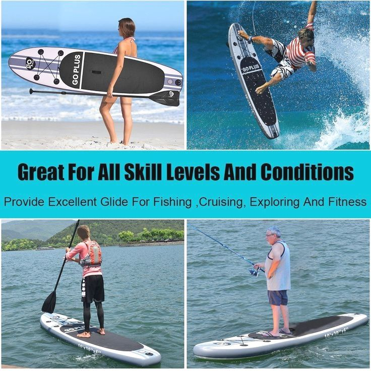 219 95 Goplus 10 Inflatable Stand Up Paddle Board Sup W 3 Fins Color White Black And Gray Material Eva Dropst In 2020 Paddle Boarding Standup Paddle Sup Surf