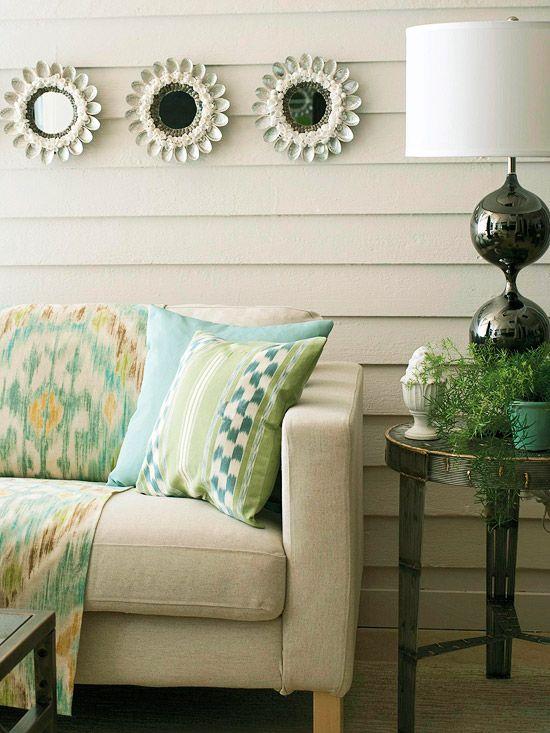 pretty: Lamps, Decor Ideas, Living Room Colors, Soft Colors, Livingroom, Families Room Colors, Colors Schemes, Design, Spoons Mirrors