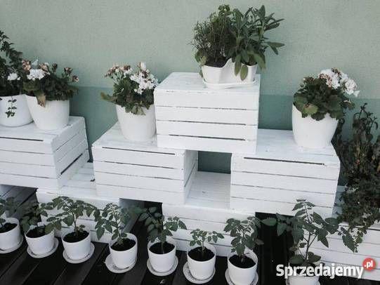 Skrzynki Drewniane Biale Dekor Warszawa Bialy Garden Inspiration Planter Pots Inspiration