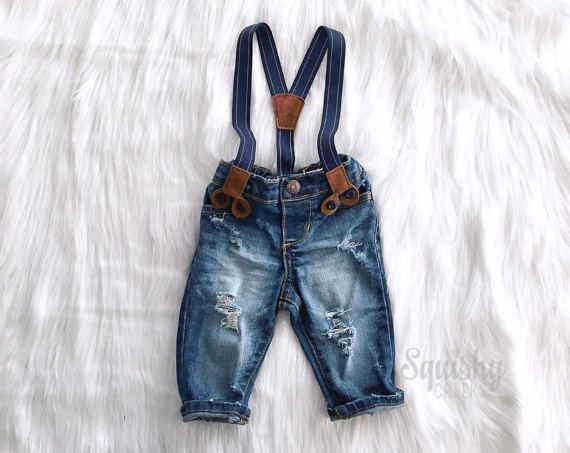 Boys Distressed Denim Suspender Pants or Shorts First Birthday Outfit Boy Smash Cake Outfit Newborn Boy Photo Outfit Boy Denim Overalls #BabyboyOveralls