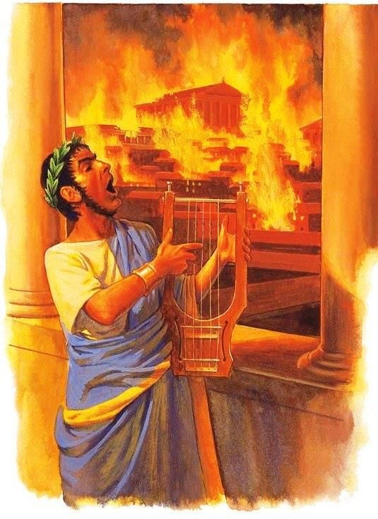Roman Emperor Nero plays his lyre, the Great Fire of Rome, the night of 18 July to 19 July 64 AD