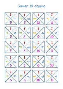 * Samen-10 domino! Plastificeren en klaar voor spel! Dit domino-spel is een leuke manier om de samen-10 sommen te oefenen. Het spel-element en de beweging helpen bij het automatiseren. De kleuren corresponderen met de samen-10 regenboog.