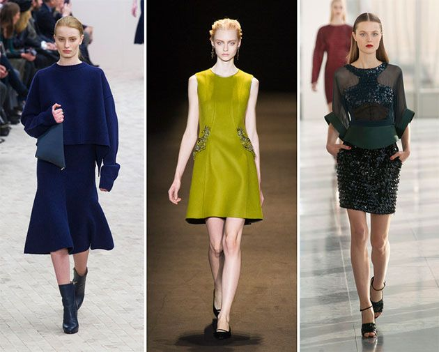 Fall/ Winter 2013-2014 Fashion Trend #21: Rich Colors: Various shades of blue, especially dark aquamarine, navy blue and cobalt blue, as well as red, purple, emerald green, mustard and pastel colors are big fall/ winter 2013-2014 fashion trends. Check out the fall 2013 collections of Alberta Ferretti, Marc Jacobs, Nina Ricci, Calvin Klein and others for inspiration!  If not the shoe trends, bag trends, color and print trends of the fall 2013 season, the fall/ winter 2013-2014 fashion trends…