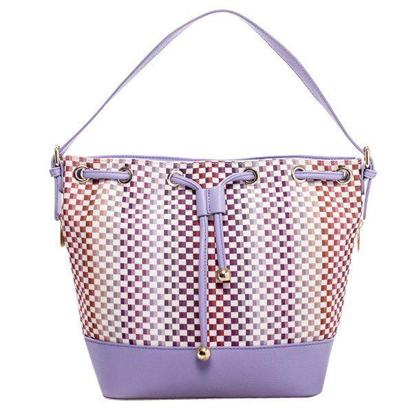 Tiny Plaid and Splicing Design Shoulder Bag For Women