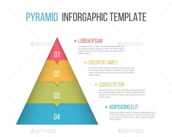 Pyramid With Four Elements Infographic Layout Web Design Pyramids