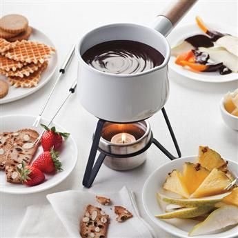 Silky chocolate fondue spiced with cinnamon is a fun and romantic dessert for Valentine's Day. #recipe