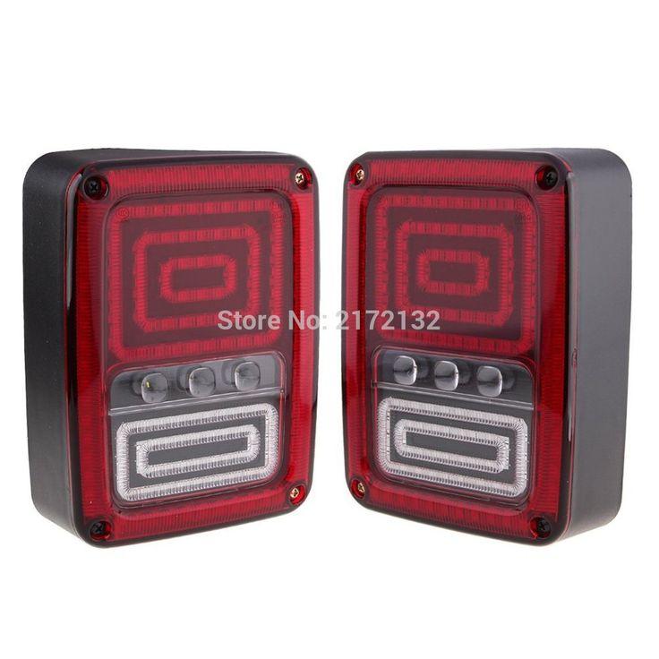 2pcs multi-functions LED tail light brake signal reverse turn lightred amber free shipping for Jeep Wrangler