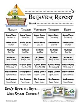 This is the weekly behavior report for parents that goes with my nautical inspired pirate frog clipchart. I included 2 versions in the zip file (last years and the one I am testing out this year.) You can find the matching clip art posters in my TPT store.