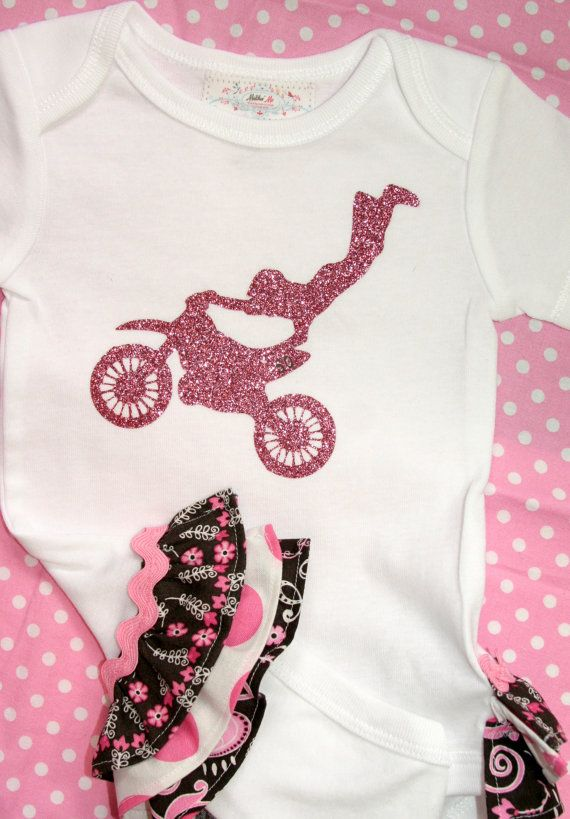 Motocross Ruffle Bootie-Children Clothing Girl . Our little girl will ride hard like her parents :)