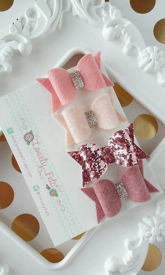 Felt Bow Hair Clips Set Old Rose Tones Vintage by #LovelyFeltShop #glitterbows #feltbows #babybows