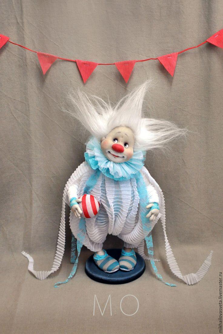 Купить МО - бирюзовый, клоун, море, цирк, подарок, коллекционная кукла, текстиль, капрон, каркас
