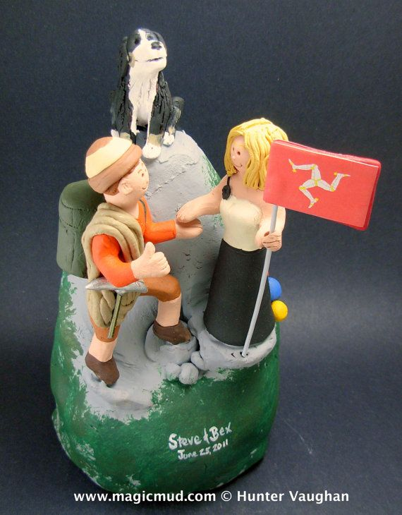 Mountaineering Bride and Groom Wedding Cake Topper - Custom Made Mountain Climbers Wedding Cake Topper,  Hiker's Wedding Cake Topper    $235   #magicmud   1 800 231 9814   www.magicmud.com