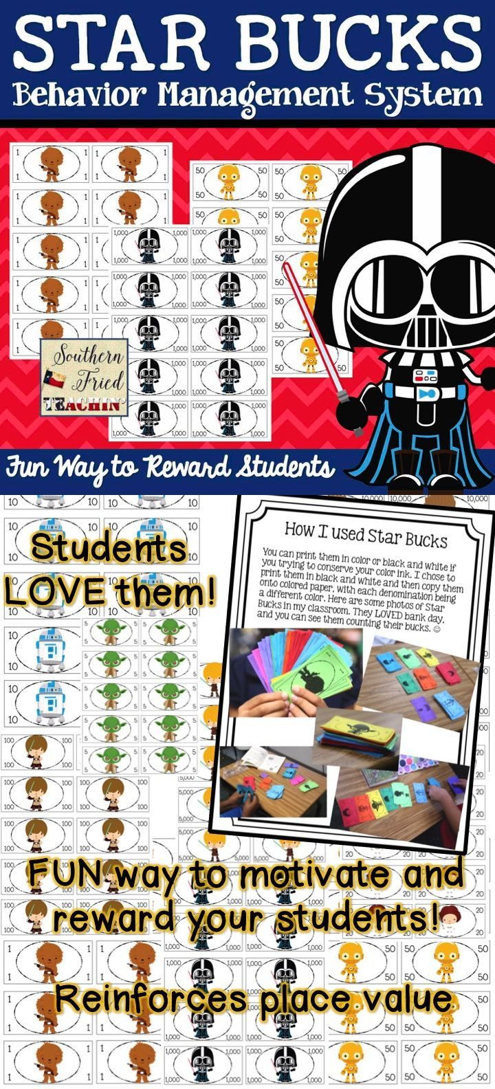 STAR Bucks are a fun way to reward your students for classroom behavior, doing homework, participation, or just about any reason to reward students. STAR Bucks have the Star Wars theme, which makes them even more fun. You can take this theme and run with it, having a STAR student bulletin board, STAR student of the week, STAR work, etc. The ideas are limitless! From $1 to $10,000 bills. My students LOVED them!! #classroommoney #classroomeconomy #starbucks